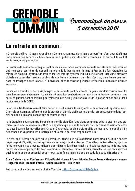 Communiqué de presse Grenoble en commun