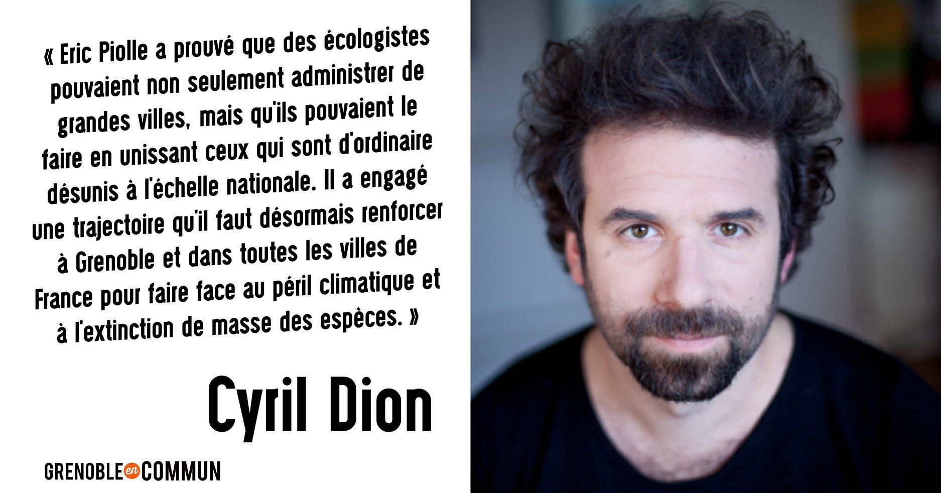 Cyril Dion soutient Eric Piolle